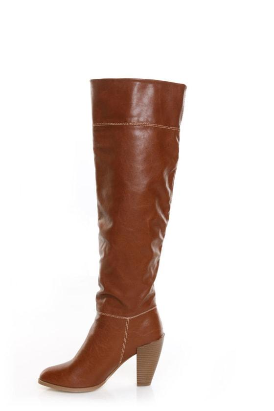 GoMax Prima Donna 01 Cognac Knee High Heel Boots