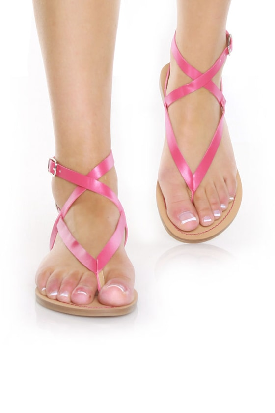 GoMax Sunny 01 Fuchsia Double Up Flat Thong Sandals