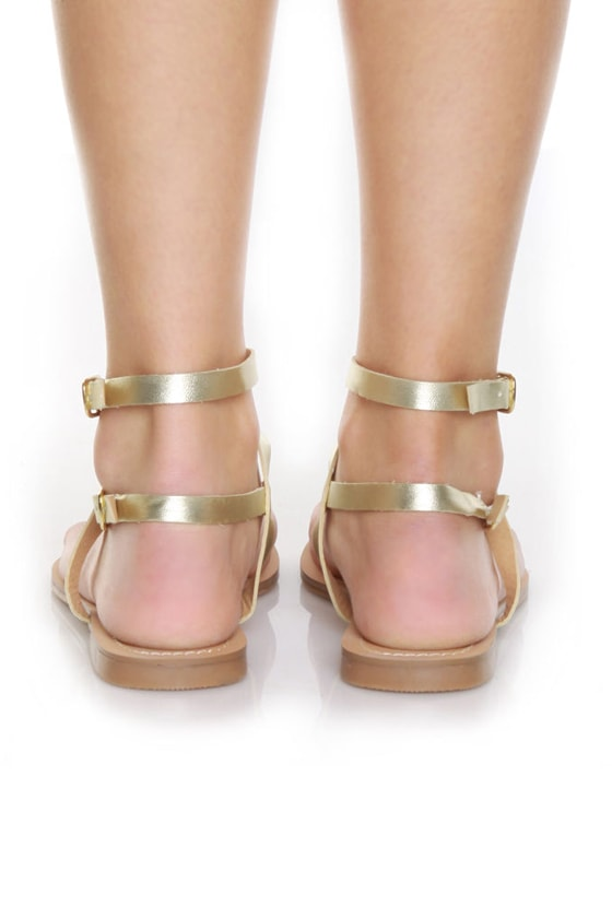 GoMax Sunny 01 Gold Double Up Flat Thong Sandals