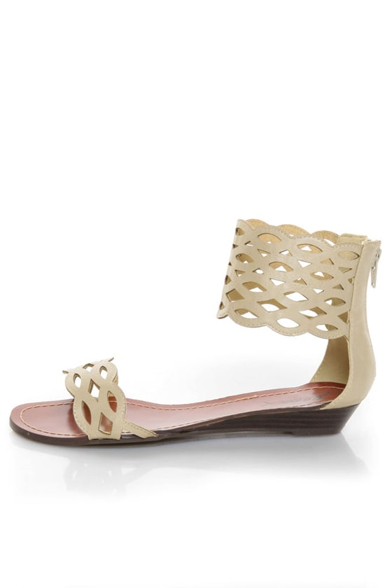 GoMax Sweet Dreams 08 Beige Laser Cutout Ankle Cuff Sandals at Lulus.com!
