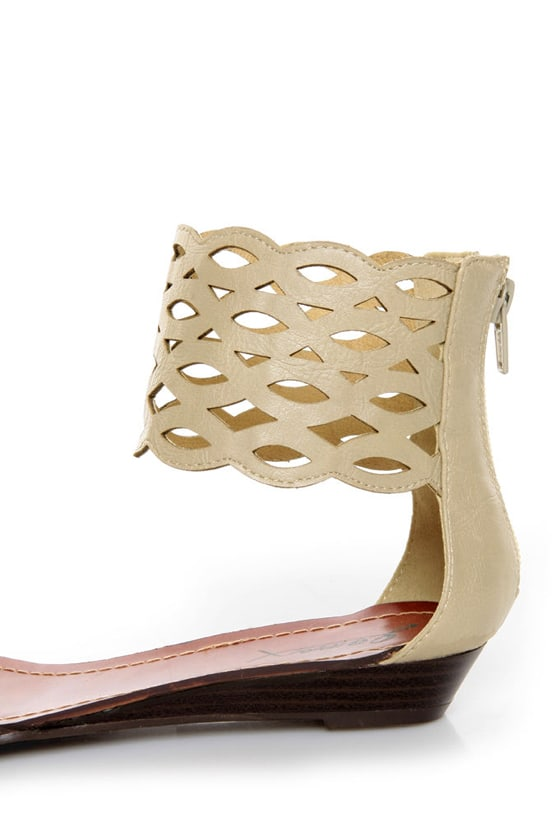 GoMax Sweet Dreams 08 Beige Laser Cutout Ankle Cuff Sandals