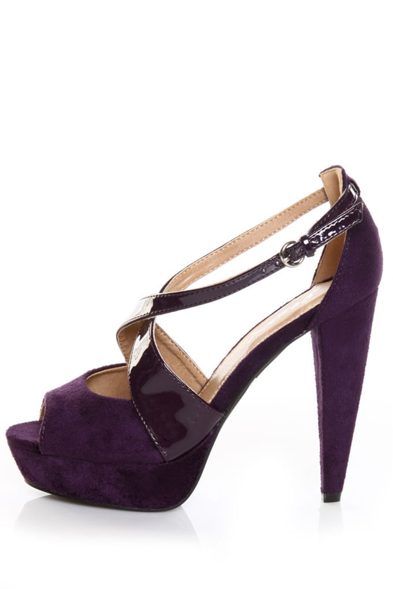 GoMax Utopia 09 Purple Suede & Patent Pumps