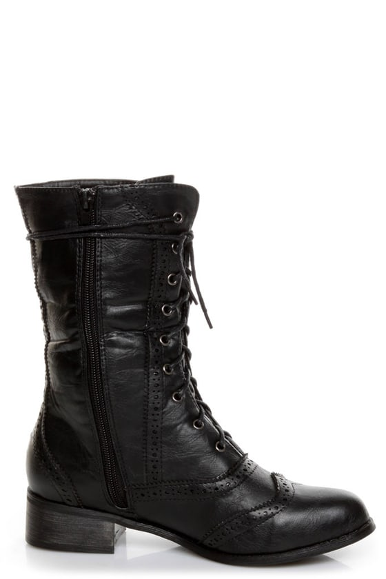 Break 3 Black Brogue Lace-Up Oxford Boots