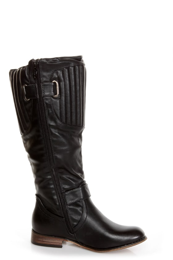 Cowgirl 1 Black Quilted Collar Belted Riding Boots