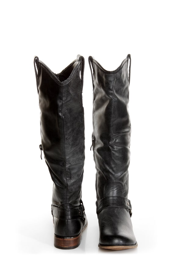 Cowgirl 3 Black Knee High Motorcycle Boots