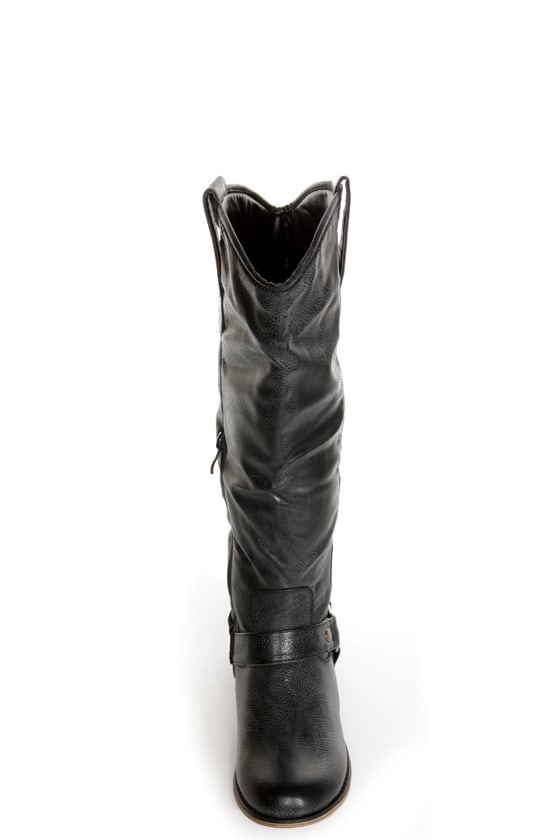 Cowgirl 3 Black Knee High Motorcycle Boots at Lulus.com!