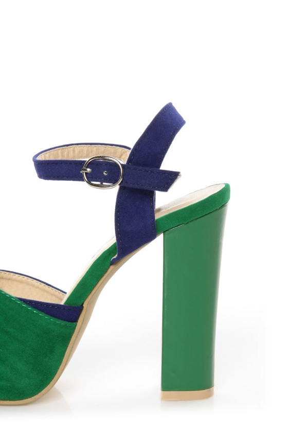 Erika 1 Green and Blue Knotty Peep Toe Platform Sandals at Lulus.com!