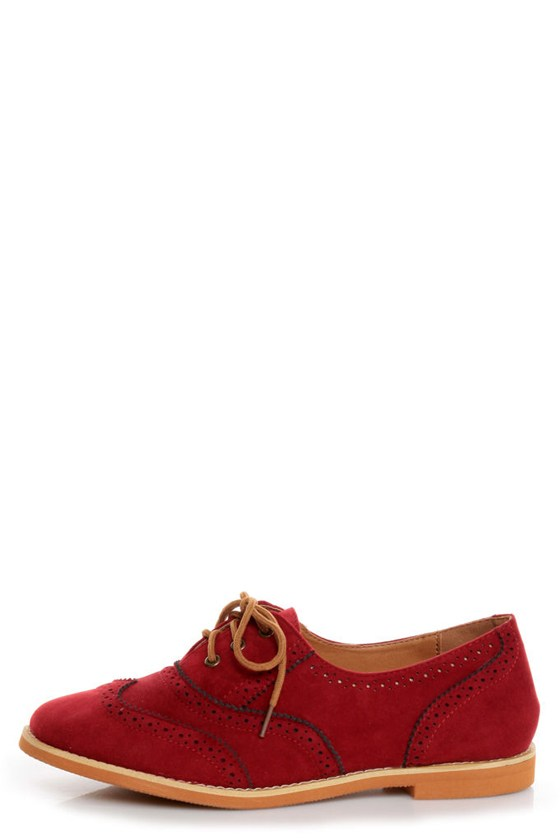 Lisa 1 Red Velvet Brogue Lace-Up Oxford Flats