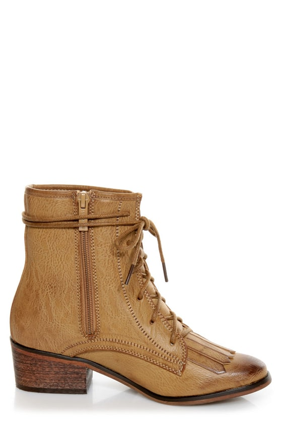 Pisa 25 Taupe Kiltie Lace-Up Ankle Boots