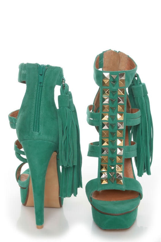 The Strung has sprung, so grab the Jeffrey Campbell Strung Green Suede Studded Tassel Heels while you can!