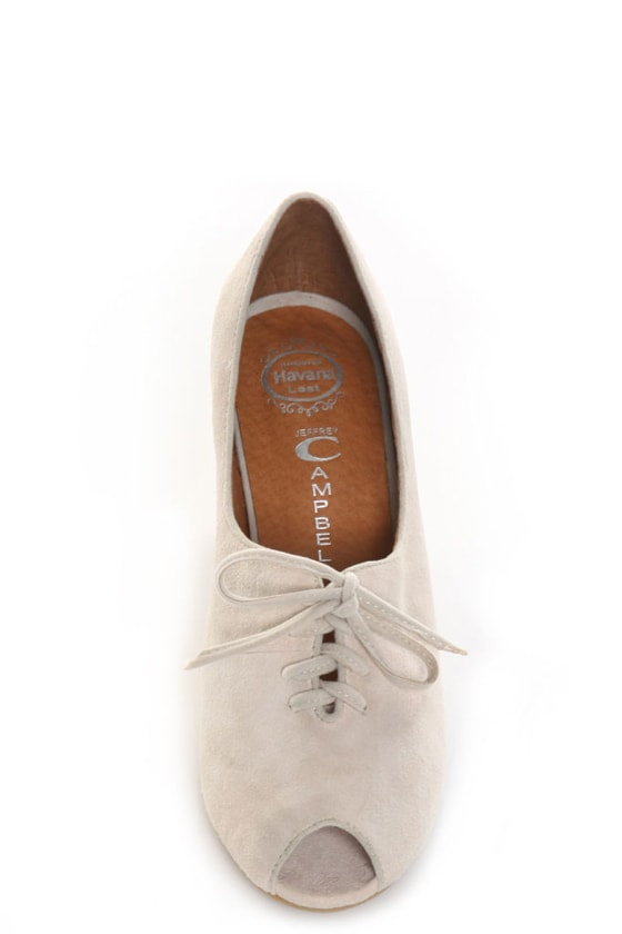 Jeffrey Campbell Switch-2 Nude Suede Peep Toe Oxford Wedges