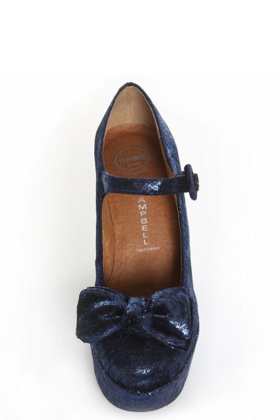 Jeffrey Campbell Wanted G Blue Glitter Velvet Platform Heels