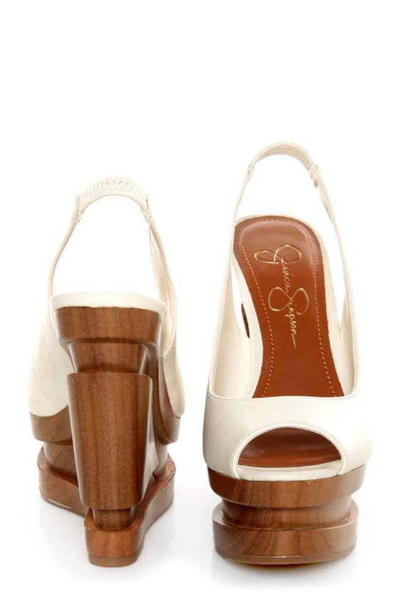 Jessica Simpson Alexy Ivory Slingback Sculpted Platform Wedges
