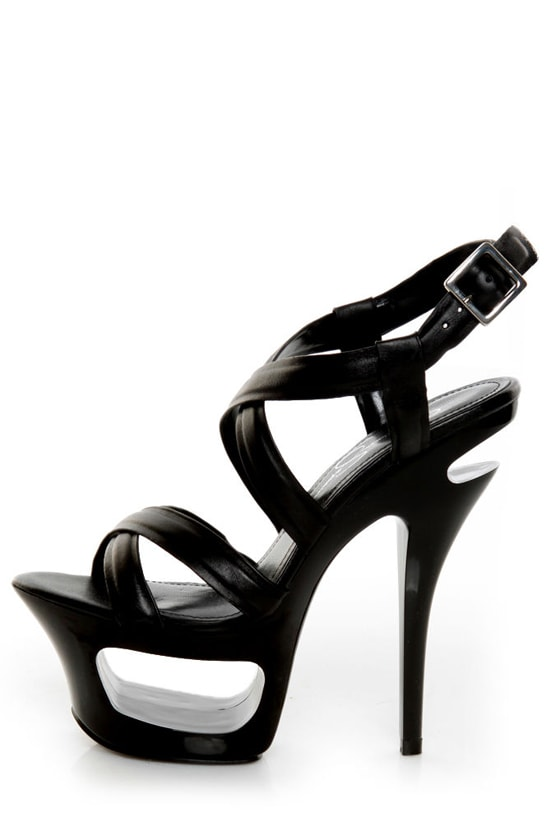 Jessica Simpson Andy Black Strappy Cutout Platform Pumps