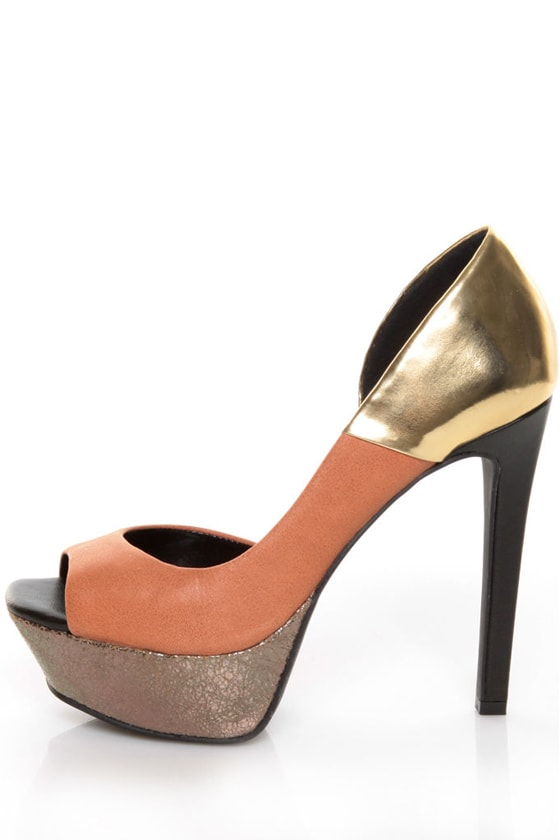 95d0c25eee Jessica Simpson Bede 2 Brule/Gold Summer Haze Color Block Pumps - $79.00