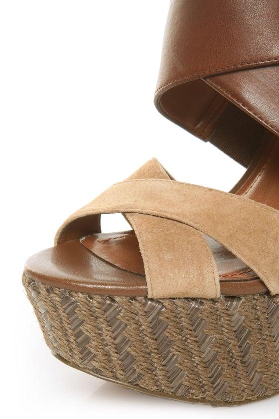 Jessica Simpson Charli Mahogany & Camel Platform Heels