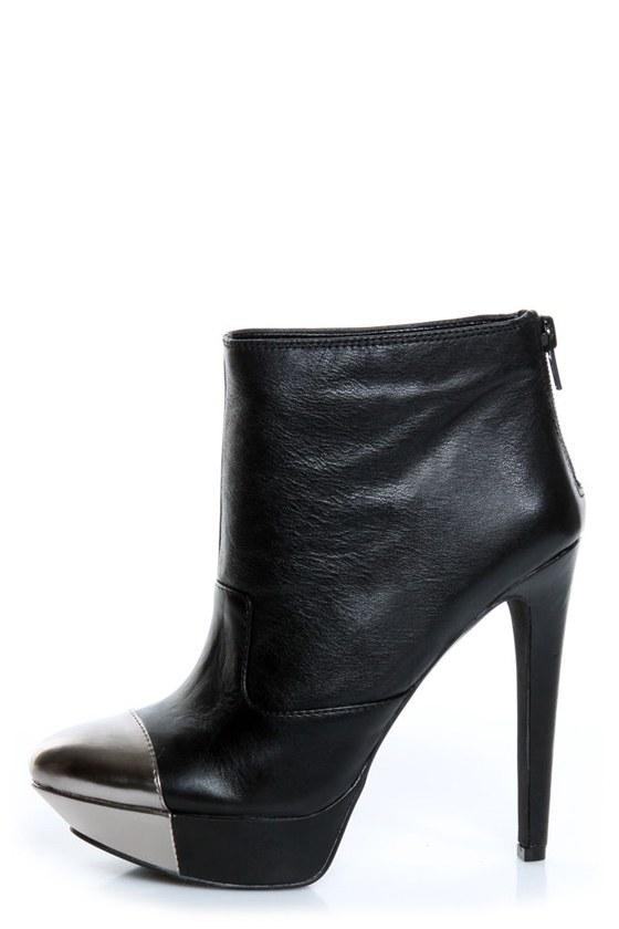 Jessica Simpson Essas Black and Silver Cap-Toe Platform Booties ...