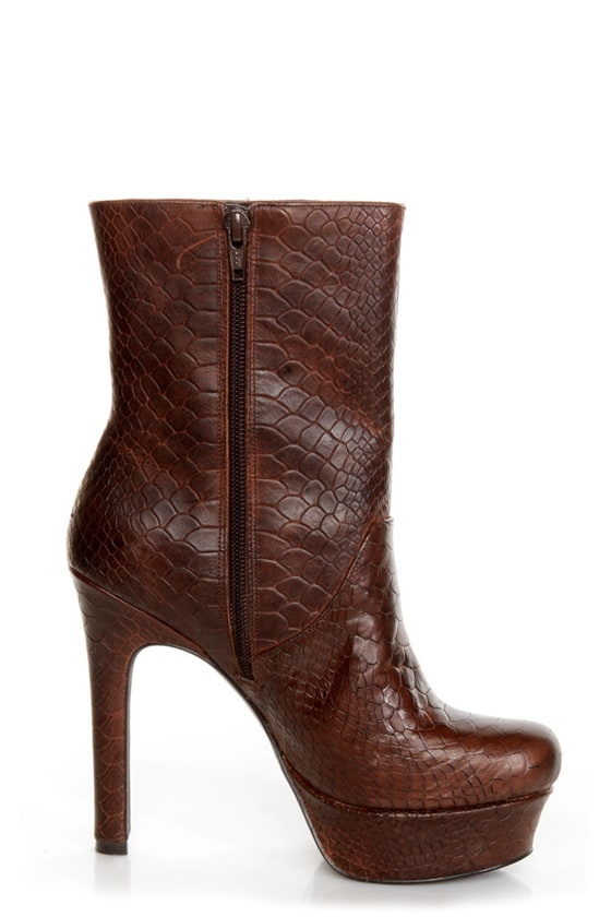 Jessica Simpson Fram Brown King Stamped Snake Platform Boots