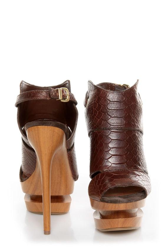 Jessica Simpson Cat Brown Stamped Snake Slingback Platform Heels