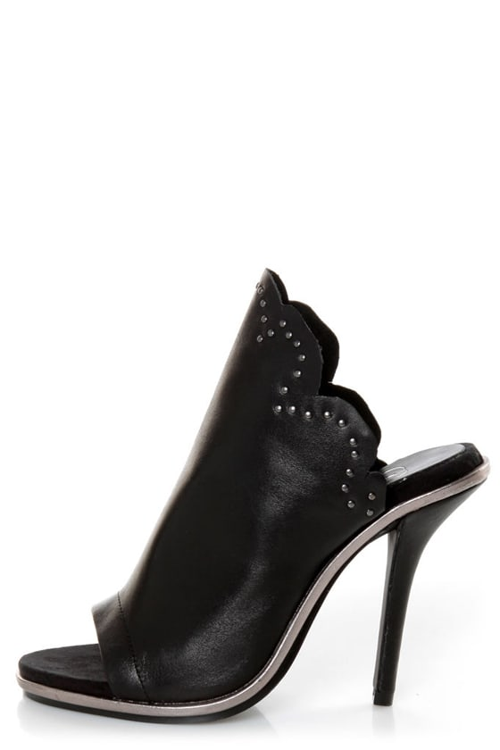 Kelsi Dagger Candor Black Leather Studded Slide Heels