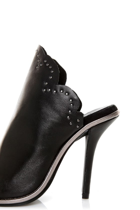 Kelsi Dagger Candor Black Leather Studded Slide Heels at Lulus.com!