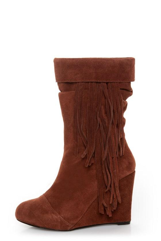 Kelsi Dagger Carousel Nutmeg Suede Fringe Cuffed Wedge Boots
