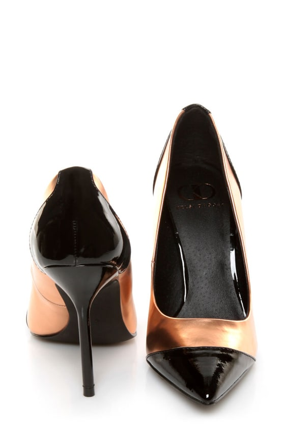 Kelsi Dagger Charley Black and Rose Gold Cap-Toe Pointed Pumps -  79.00