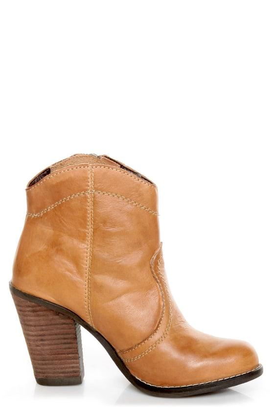 Kelsi Dagger Hanly Cognac Leather High Heel Ankle Boots