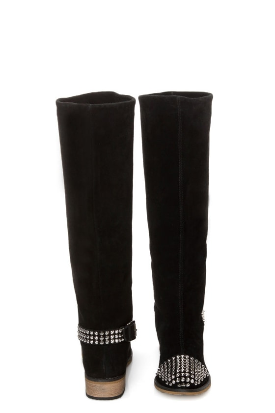 Kelsi Dagger Rover Black Suede Studded Cap-Toe Knee High Boots at Lulus.com!