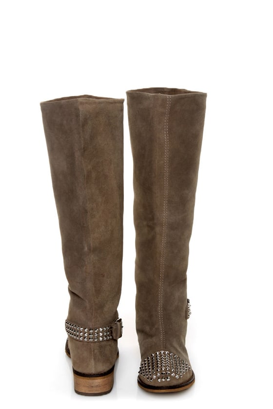 Kelsi Dagger Rover Taupe Suede Studded Cap-Toe Knee High Boots