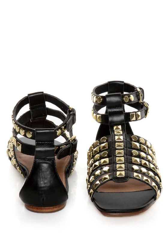 Kelsi Dagger Roxy Black Studded Gladiator Sandals