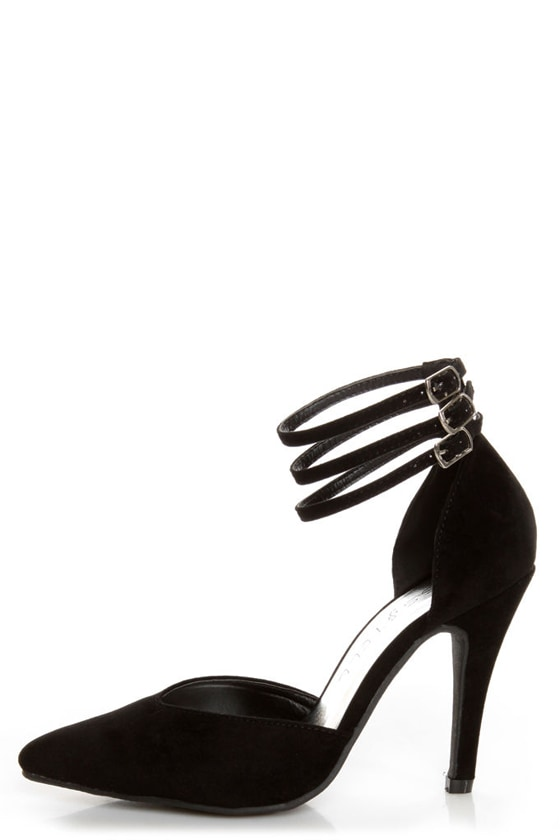 Bliss 15 Black Triple Strap Pointed Heels at Lulus.com!