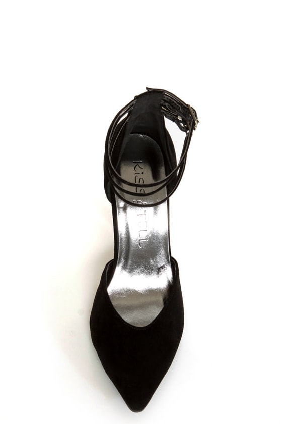 Bliss 15 Black Triple Strap Pointed Heels