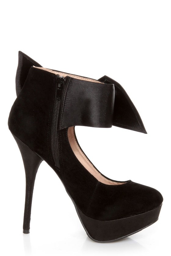 Carissa 13 Black Side Bow Ankle Cuff Platform Pumps