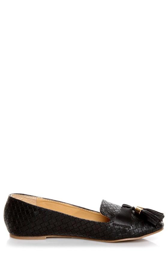 Messina 12 Black Textured Tassel Smoking Slipper Flats