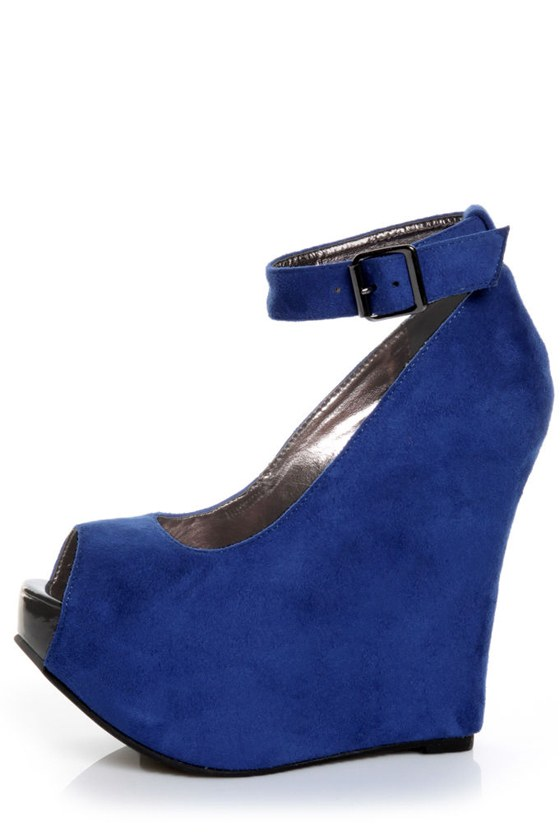 Luichiny Angel Lina Cobalt Blue Peep Toe Super Wedges