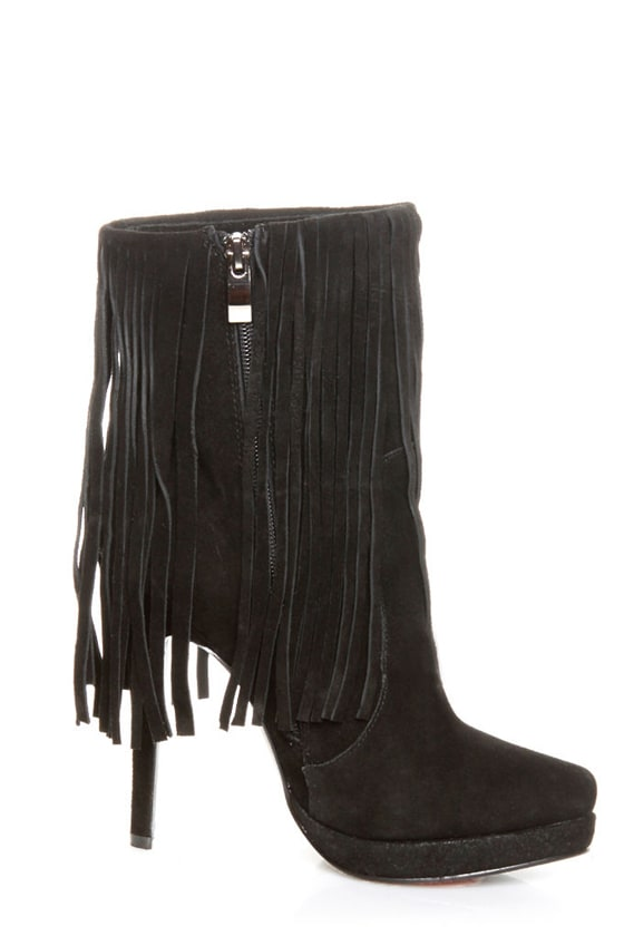 Luichiny High Life Black Suede Fringe Ankle Bootie Pumps