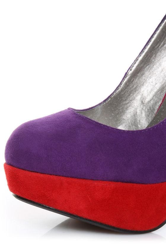 Luichiny Luv Lee Purple Combo Suede Color Block Platform Pumps