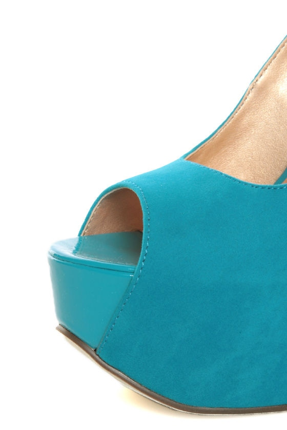 Luichiny More of It Blue Suede Platform Peep Toe Pumps
