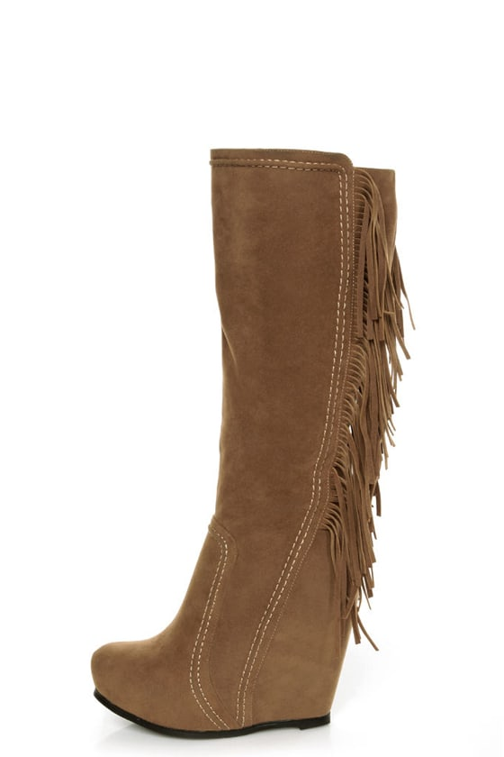 Luichiny Top That Tan Fringe Wedge Boots at Lulus.com!