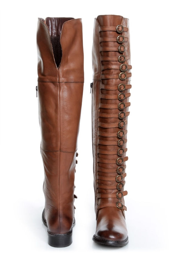 Luichiny True Fit Cognac Brown Leather Belts Galore OTK Boots at Lulus.com!
