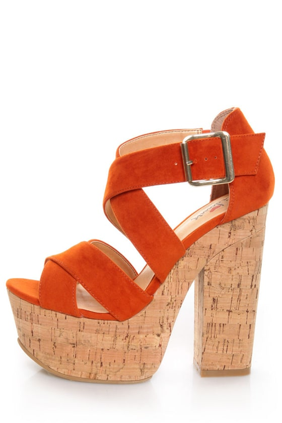 Luichiny Van Buren Orange Cork Super Platform Heels at Lulus.com!