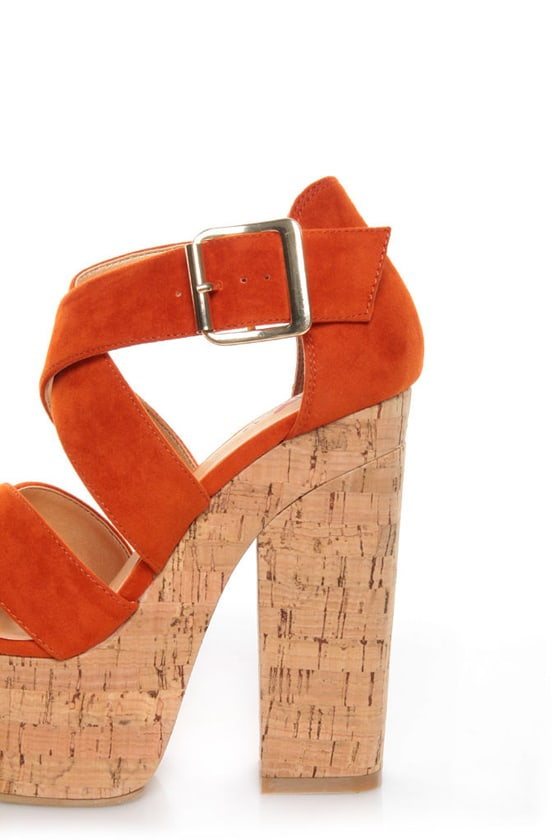 Luichiny Van Buren Orange Cork Super Platform Heels