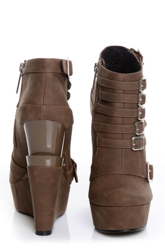 Michael Antonio Studio Mercer Taupe Triple Wedge Ankle Boots
