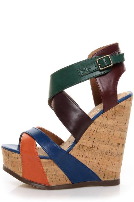 Mia Statuesque Multi Color Block Platform Wedge Sandals
