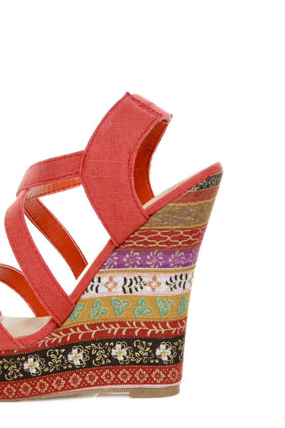 My Delicious Bruno Dark Salmon Floral Striped Platform Wedges at Lulus.com!