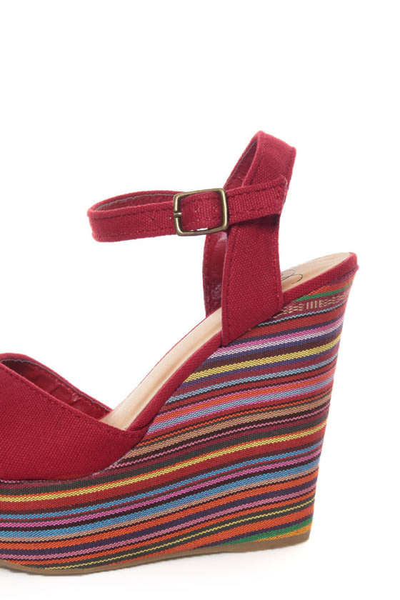 My Delicious Calmia Dark Red Cotton Striped Platform Wedges