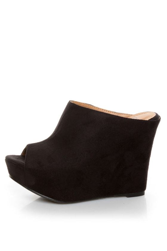 My Delicious Cubic Black Peep Toe Mule Wedges