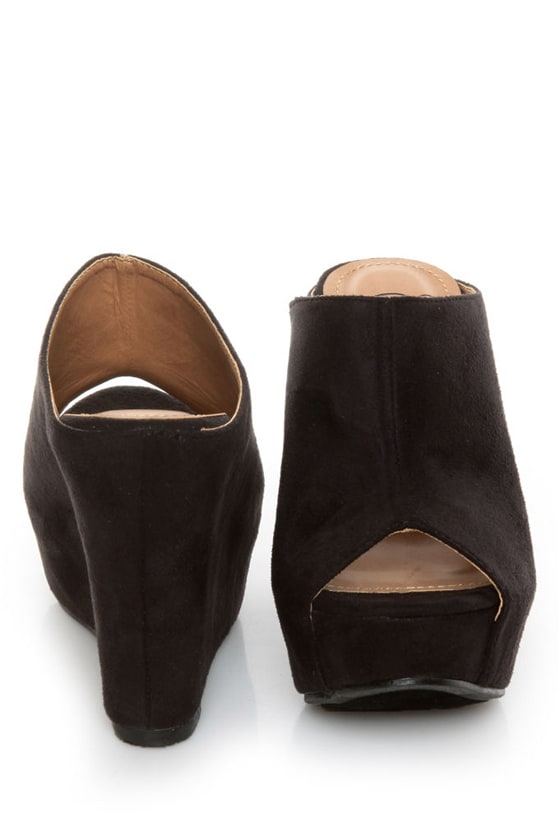 My Delicious Cubic Black Peep Toe Mule Wedges at Lulus.com!