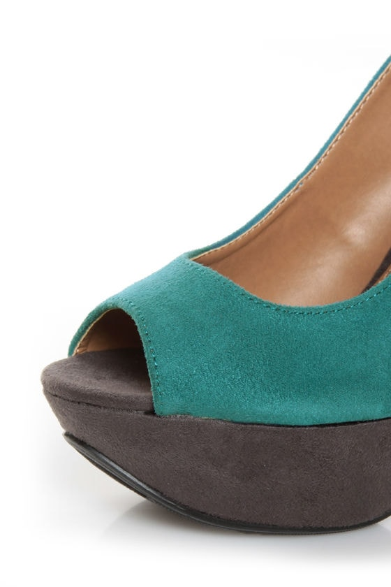 My Delicious Fausta Dark Teal Color Block Slingback Heels